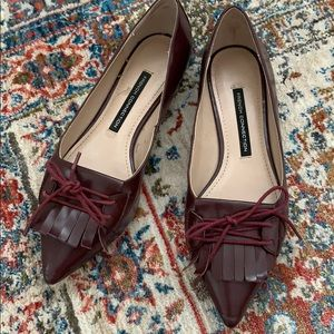 EUC SZ 7.5 FRENCH CONNECTION BURGUNDY FLATS